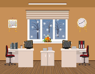 Office room interior christmas design with serpentine including two work spaces.