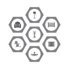Set Of 7 Situation Icons Set.Collection Of Illuminator, Coat Stand, Bookcase Elements.