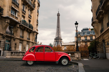 Wall Mural - Red car in Paris