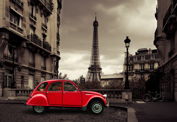 Fotomurales - Red car in Paris