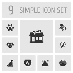 Set Of 9 Animals Icons Set.Collection Of Store, Sitting, Head And Other Elements.