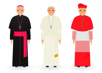 Pope, cardinal and bishop characters in characteristic clothes standing together. Supreme catholic priests in cassocks.