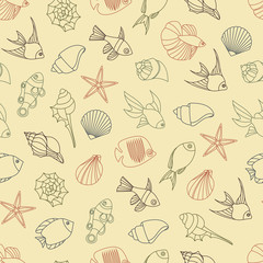 Vector illustration of seamless pattern of seashells and fish