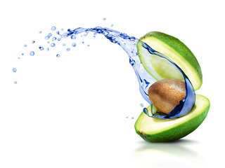 Avocado with a moving splash of water, isolated on white background