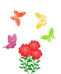 красные цветы с бабочками