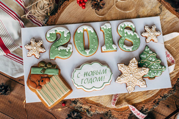 Christmas colorful gingerbread cookies. Bakery products
