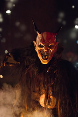 Krampus during the traditional festival., Tarvisio, Julian alps, Italy