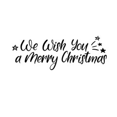 We wish you a Merry Christmas Hand Lettering Greeting Card. Vector Illistration. Modern Calligraphy.