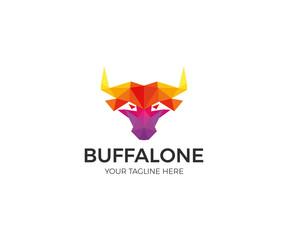 Buffalo Colorful Polygon Logo Template. Modern Head Bull Vector Design. Animals Illustration