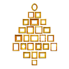 Christmas tree of antique golden frames.