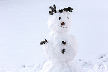 Snowman wearing a crown made of fir branches.