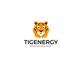 Tiger Face Logo Template. Predator Vector Design. Wild Animal Polygon Illustration