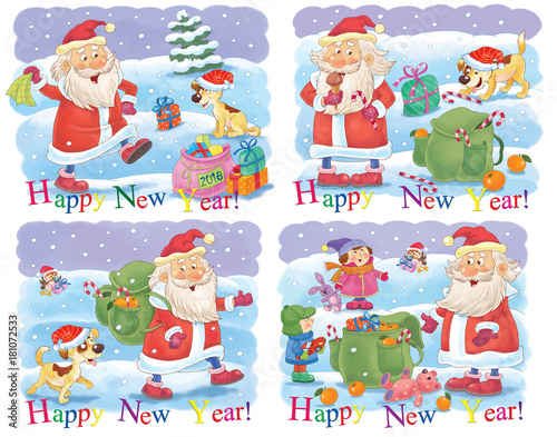 Ney Year Christmas Coloring Page Illustration For Children Cute