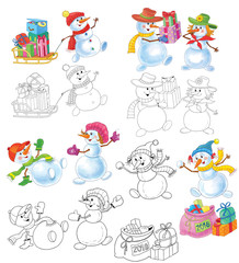 Ney Year. Christmas. Coloring page. Illustration for children. Cute and funny cartoon characters
