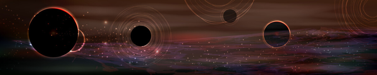 cosmos panorama. long horizontal vector