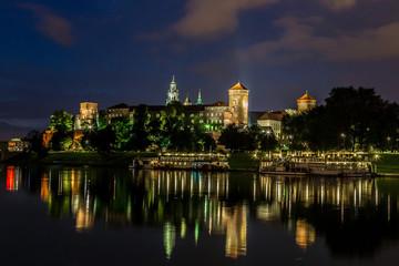 Krakow at night. Wawel Castle