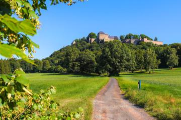 Festung Königstein mit Wanderweg und grünen Wiesen, Sächsische Schweiz