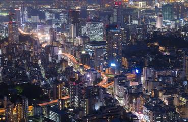 東京夜景 街並クローズアップ 一ノ橋