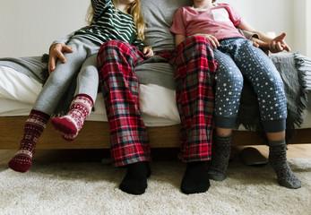 Caucasian family enjoying Christmas holiday