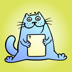 Cheerful blue cat and digital tablet. Vector Illustration.