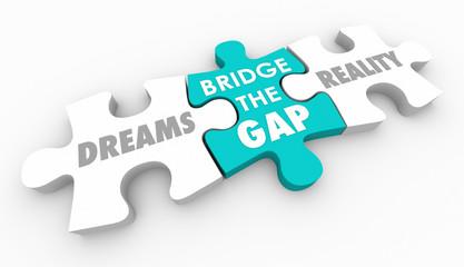 Dreams Reality Bridge Gap Puzzle Make Wishes Come True 3d Illustration