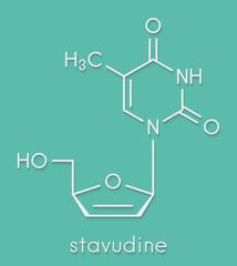 Stavudine (d4T) HIV drug molecule. Thymidine analog that blocks reverse-transcriptase. Skeletal formula.