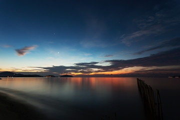Seascape in the sunrise long exposure,beautiful light and dramatic sky colorful color.