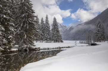 Snowy landscape of Lake Anterselva, Pusteria Valley, South Tyrol, Italy