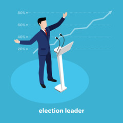 politically the leader at the rostrum, the leading candidate in the election on a blue background