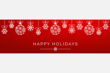 Red Snowflake Ornament Happy Holidays Wide Banner Vector Background 1