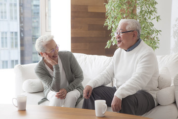 An old couple is talking on a sofa as they get along