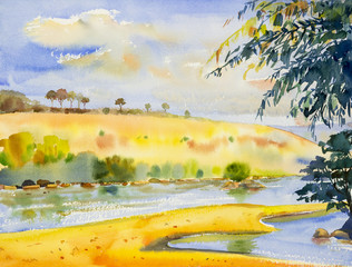 Watercolor landscape original painting colorful of river and mountain.