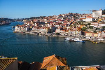 Top view of Douro river and Ribeiro, Porto, Portugal.