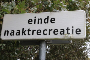 "sign on beach with text ""end nude recreation""in dutch language on the Zevenhuizerplas, Oud Verlaat, Netherlands"