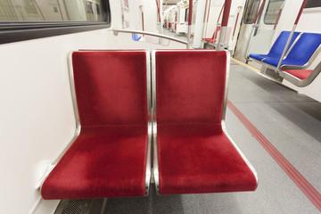 Empty seats in a subway train