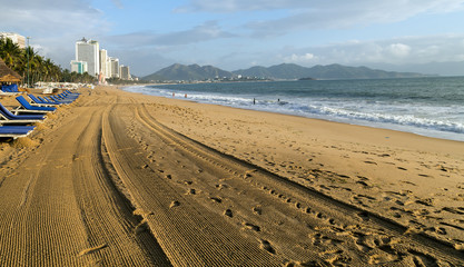 City morning Sand Beach resort district Nha Trang Bay of the South China Sea in Khanh Hoa province, Vietnam.
