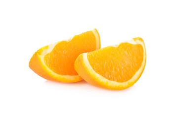 slice Navel/Valencia orange on white background