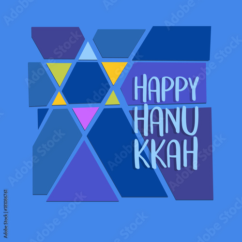 Happy hanukkah greeting card abstract star of david in colorful cut happy hanukkah greeting card abstract star of david in colorful cut paper style for m4hsunfo