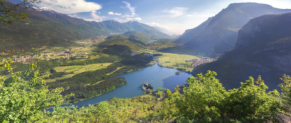 Lago di Toblino on sunny day, Valley of Lakes, Trentino, Italy Wall mural