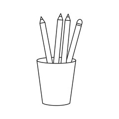 Pencils inside mug design