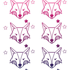 line cute fox head animal with stars ans hearts background