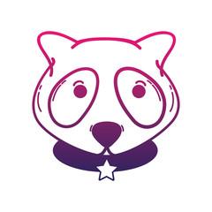 line cute raccoon head animal and belt with star emblem
