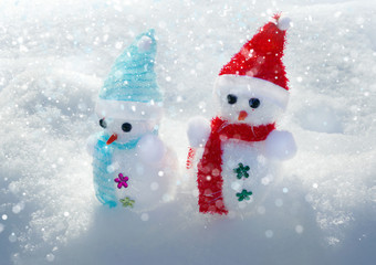 Christmas decorations Snowman in snow