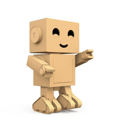 Cute Cardboard Robot isolated on white background. 3D rendering image.