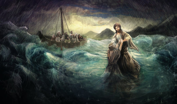 Christ walk on water