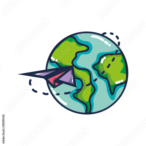 global earth planet with paper airplane design stock image and