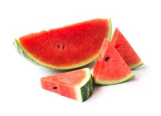 Watermelon with sliced on white background, fruit for healthy concept