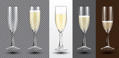 Champagne Glass Set on Different Backgrounds. Transparent. Vector Illustration.