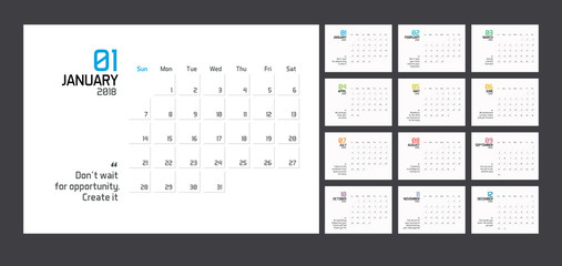 Modern minimal Calendar Planner Template for 2018. Vector design editable template with wise quotes for success