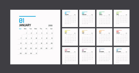 Modern minimal Calendar Planner Template for 2018. Vector design editable template